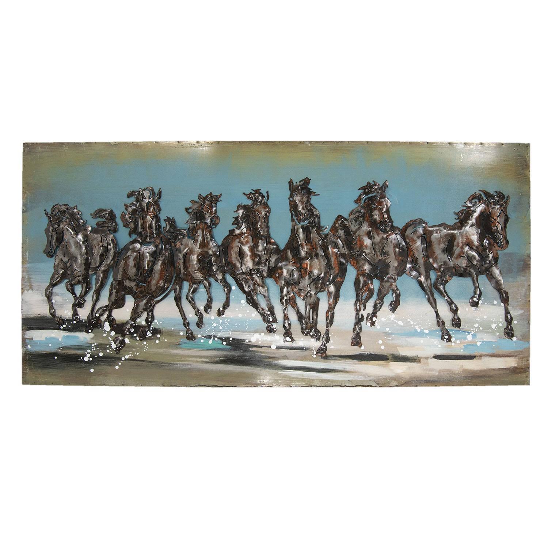 Clayre & Eef Wanddecoratie paarden 140*70*5 cm Meerkleurig Ijzer Rechthoek Paarden JJWA00016