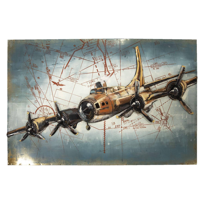 Clayre & Eef Wanddecoratie Vliegtuig 120*5*80 cm Meerkleurig Ijzer Rechthoek Vliegtuig JJWA00019
