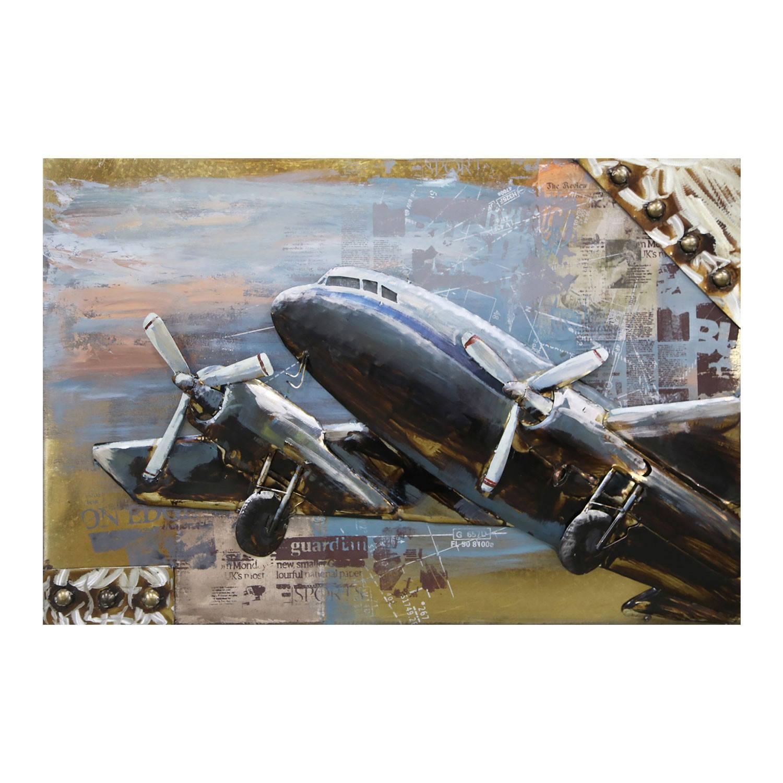 Clayre & Eef Wanddecoratie Vliegtuig 120*80*7 cm Meerkleurig Ijzer Rechthoek Vliegtuig JJWA00026