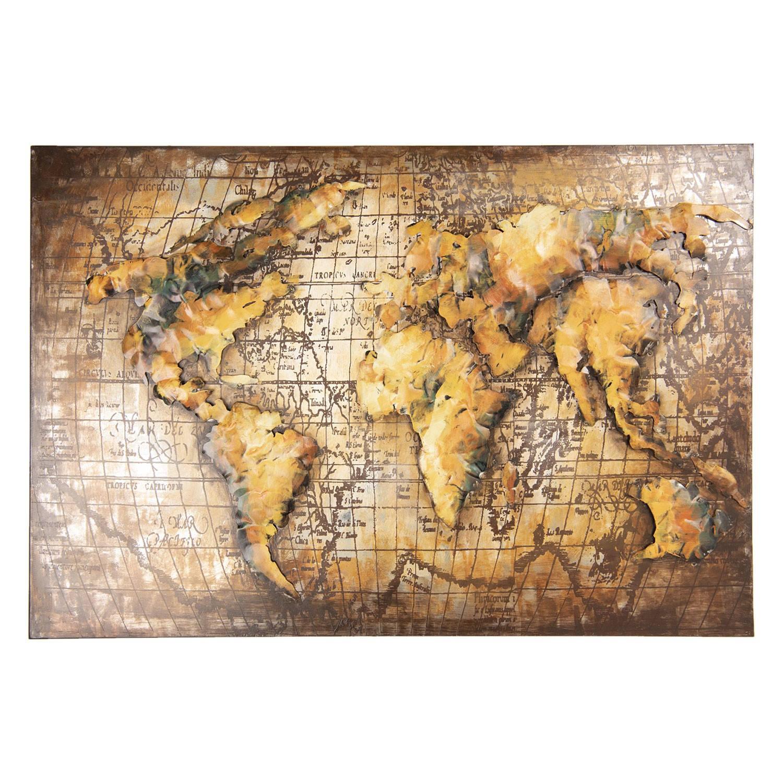 Clayre & Eef Wanddecoratie wereldkaart 120*4*80 cm Bruin Ijzer Rechthoek Wereldkaart 5WA0155