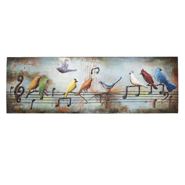 Clayre & Eef Wanddecoratie vogels 180*4*60 cm Meerkleurig Ijzer Rechthoek Vogels JJWA00093