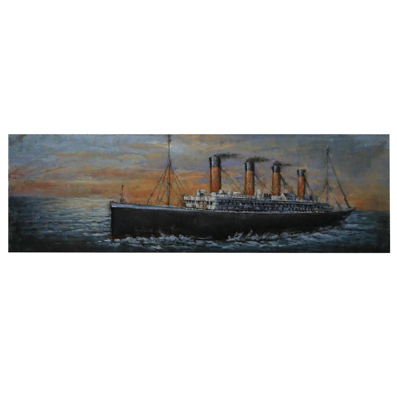 Clayre & Eef Wanddecoratie Titanic 180*56*6 cm Meerkleurig Ijzer Rechthoek Stoomboot JJWA00092