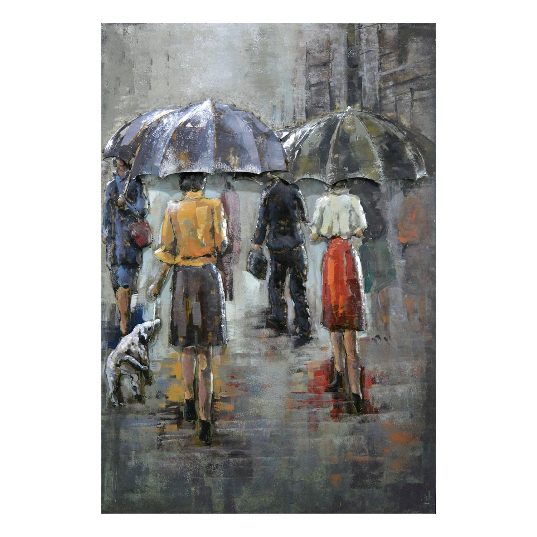 Clayre & Eef Wanddecoratie regentafereel 80*120*7 cm Meerkleurig Ijzer Rechthoek Mensen JJWA00088