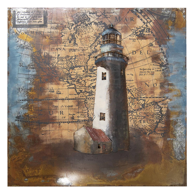 Clayre & Eef Muurdecoratie Jjwa00061 80*80*5 Cm - Meerkleurig Ijzer