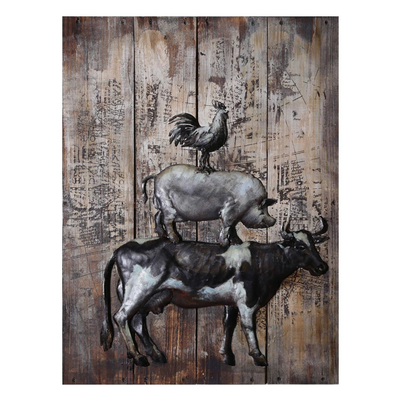 Clayre & Eef Wanddecoratie 3 dieren 60*80*6.5 cm Meerkleurig Ijzer Rechthoek Dieren JJWA00078