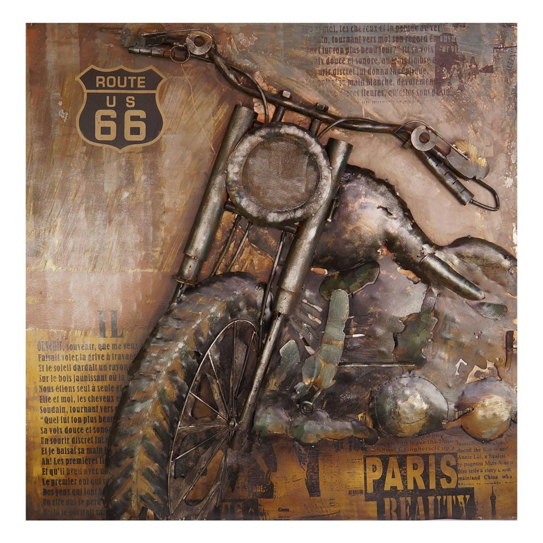 Clayre & Eef Wanddecoratie motor 100*8*100 cm Meerkleurig Ijzer Rechthoek Motor JJWA00042