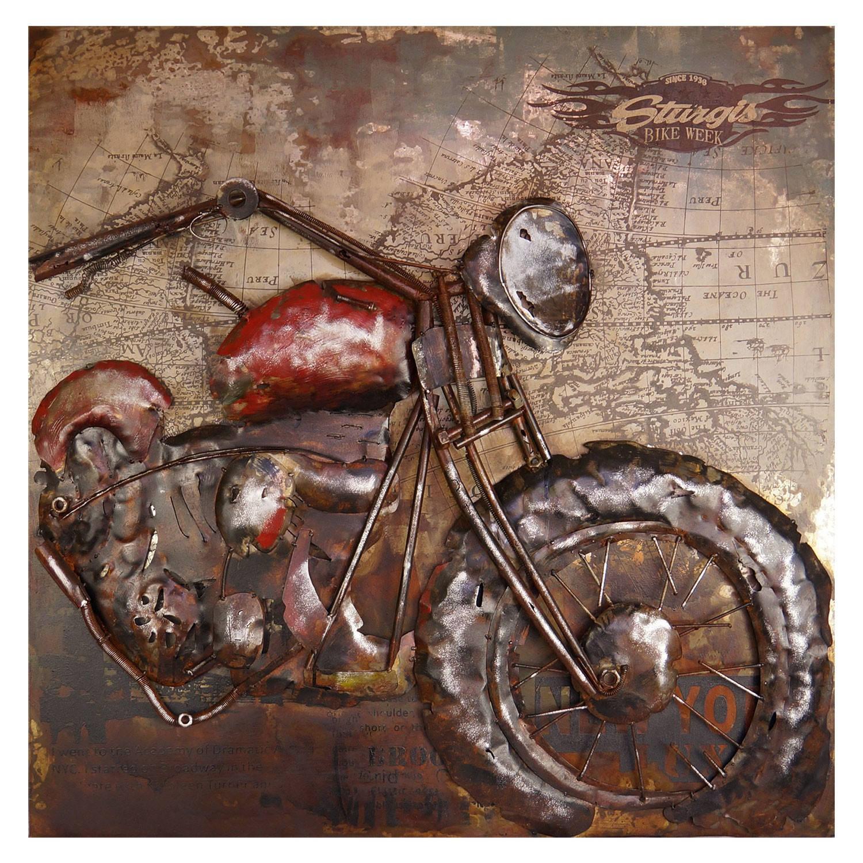 Clayre & Eef Wanddecoratie motor 100*100*9 cm Meerkleurig Ijzer Rechthoek Motor JJWA00043
