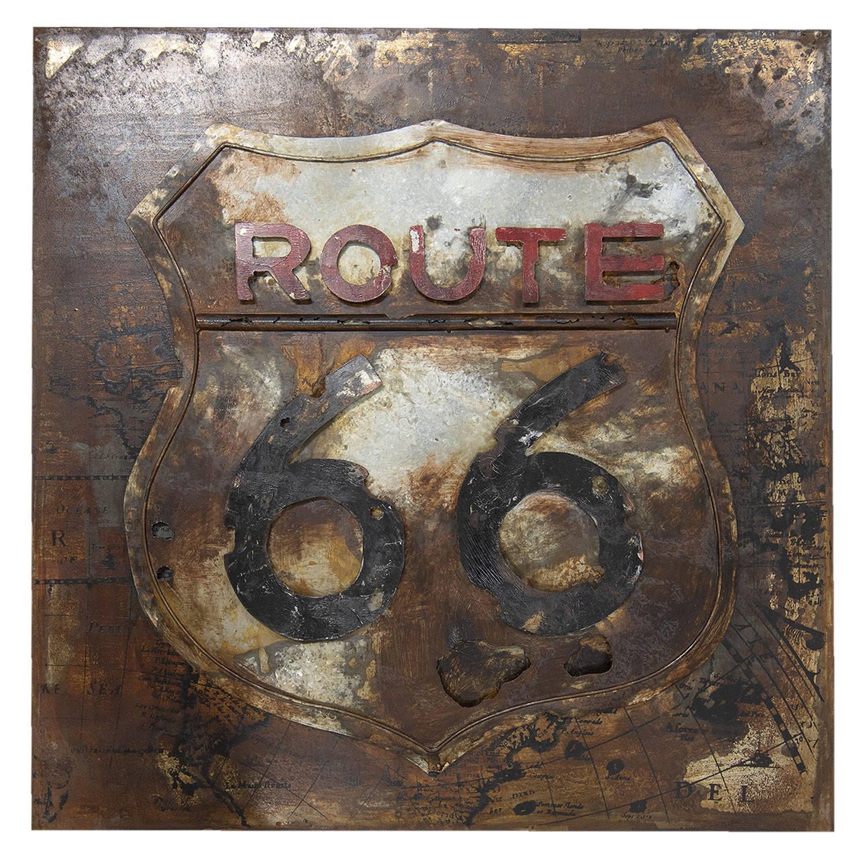 Clayre & Eef Wanddecoratie Route 66 80*6*80 cm Meerkleurig Ijzer Vierkant Route 66 JJWA00056