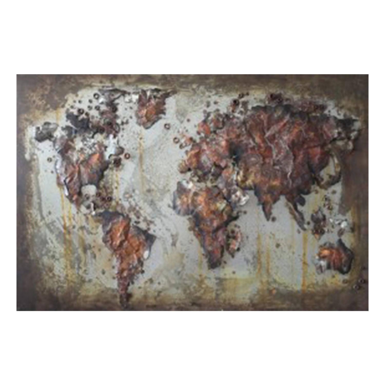 Clayre & Eef Wanddecoratie Wereldkaart 120*4*80 cm Meerkleurig Ijzer Rechthoek Wereldkaart JJWA00055