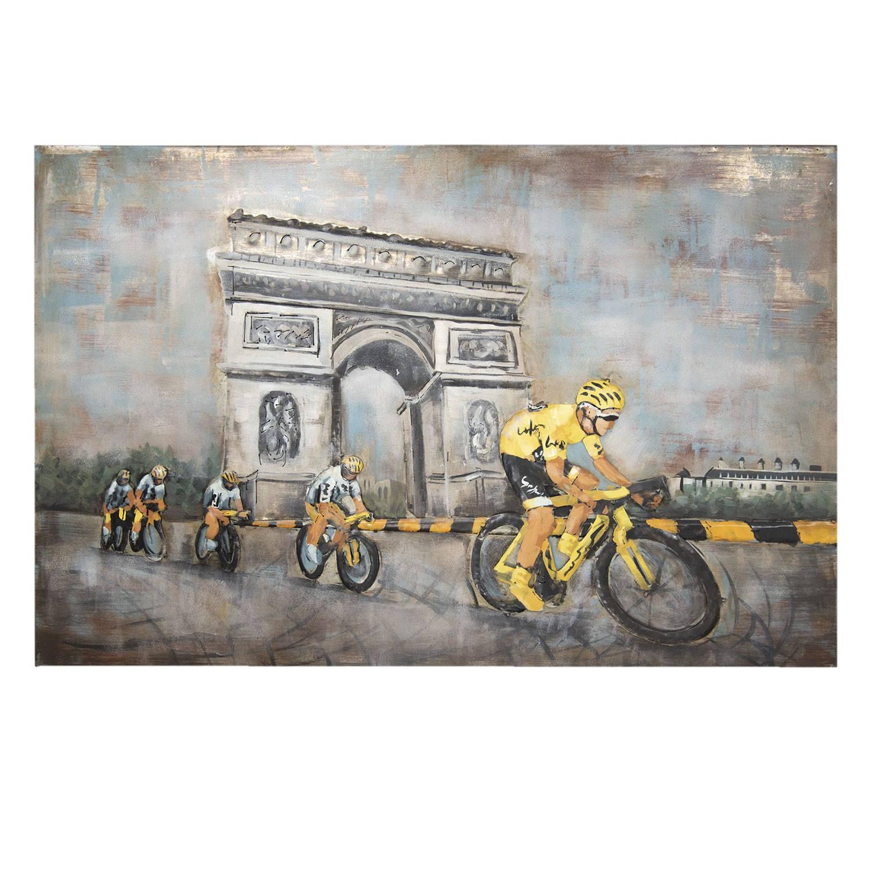 Clayre & Eef Wanddecoratie Arc de Triomph 120*80*5 cm Meerkleurig Ijzer Rechthoek Wielrenners JJWA00