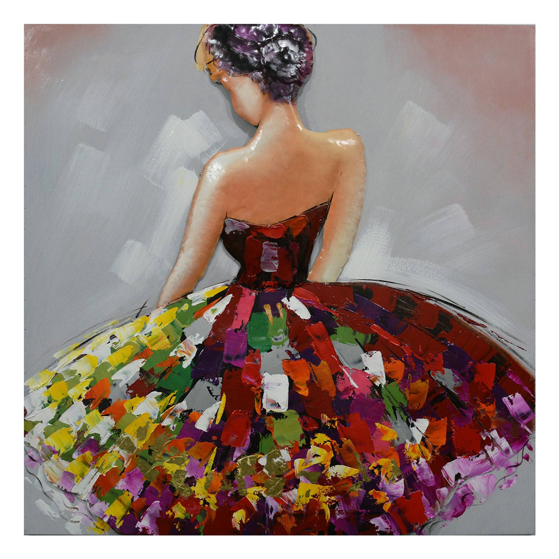 Clayre & Eef Wanddecoratie danseres 100*5*100 cm Meerkleurig Ijzer Vierkant Ballerina JJWA00100