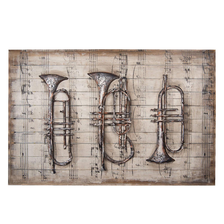 Clayre & Eef Wanddecoratie muziekinstrumenten 120*80*6 cm Meerkleurig Hout/ metaal Rechthoek Trompet