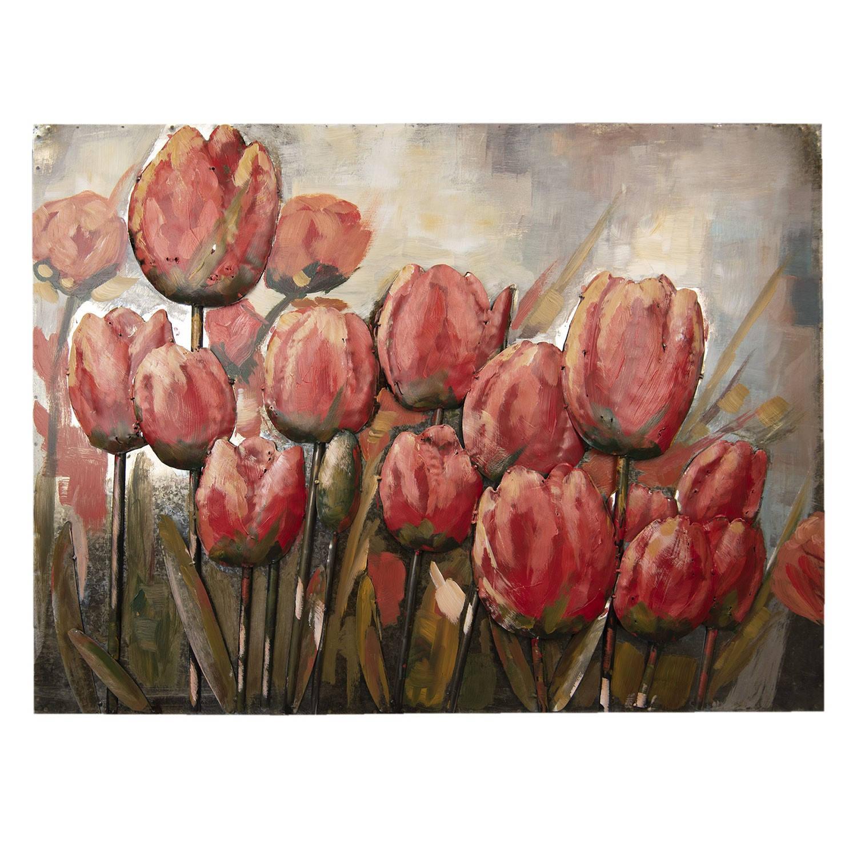 Clayre & Eef Wanddecoratie tulpen 100**5*75 cm Meerkleurig Ijzer Rechthoek Tulpen 5WA0118