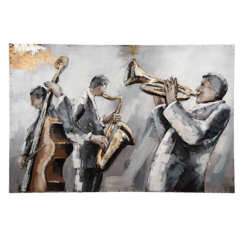 Clayre & Eef Wanddecoratie muzikanten 90*6*60 cm Meerkleurig Ijzer Rechthoek Muzikanten 5WA0121