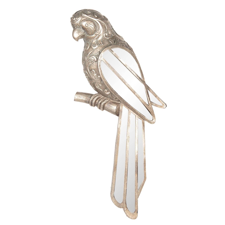 Clayre & Eef Wanddecoratie vogel 30*4*13 cm Goudkleurig Polyresin Papegaai 6PR2564