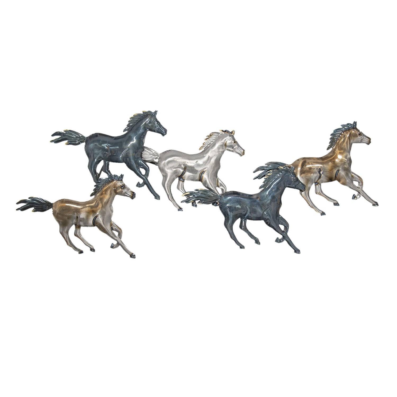 Clayre & Eef Wanddecoratie Paarden 119*49*6 Cm Zilverkleurig Metaal Paarden 5y0534