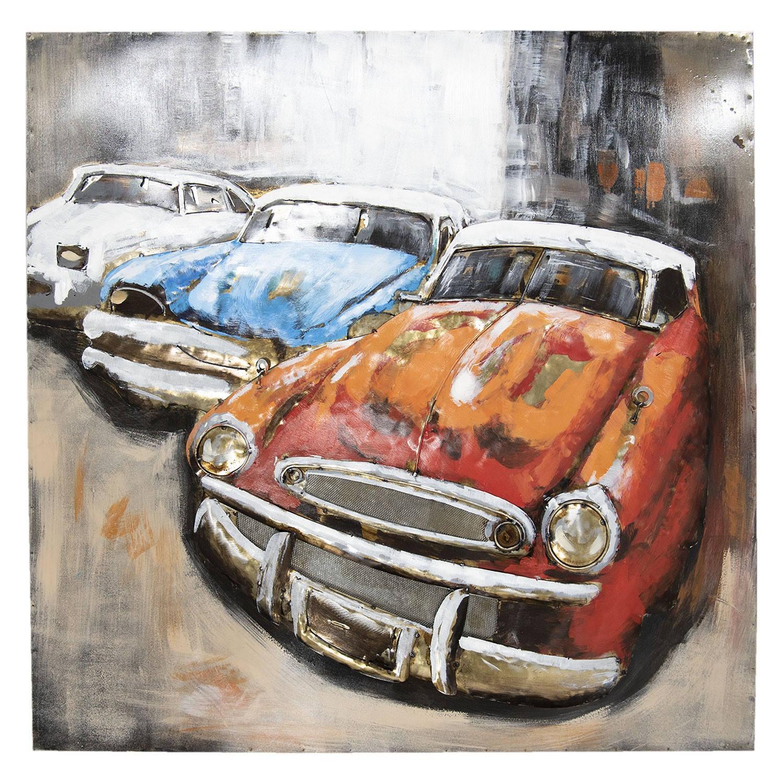 Wanddecoratie 3 auto's 100*100*6 cm