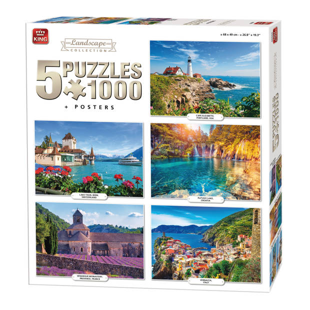 King Compendium 5-in-1 landschap puzzels 5x1000 stukjes
