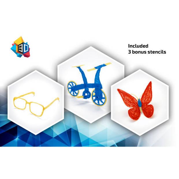 3Dandprint 3D Pen Starterspakket Wit - Inclusief 50 Meter Filament - 5 Stencils