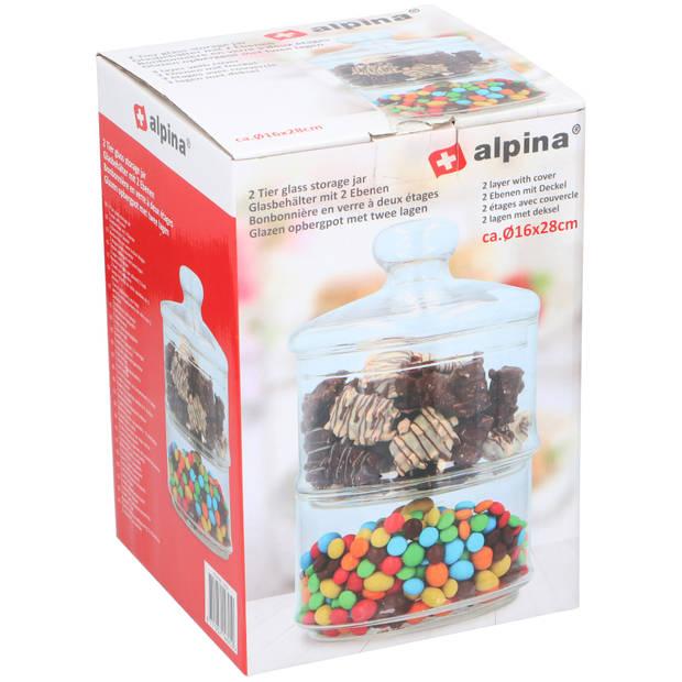 Alpina bonbonnière/snoeppot - glas - 2 lagen - Ø16 cm - met deksel