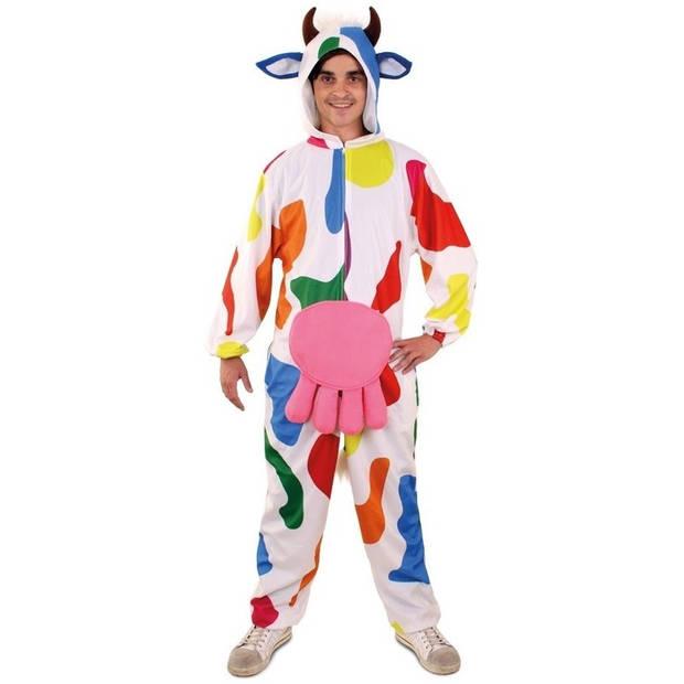 Pluche bonte koe onesie voor heren S/M - Carnavalskostuums