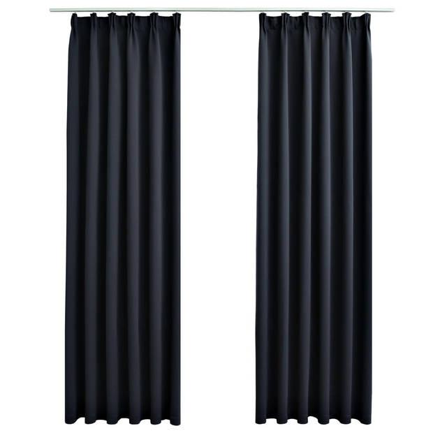 vidaXL Gordijnen verduisterend met haken 2 st 140x245 cm antraciet
