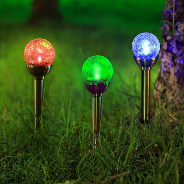 Aigostar LED RGB Solar lamp op Zonne-energie - RVS stekers 36 cm - Tuinverlichting - Tuinlamp - 6 stuks