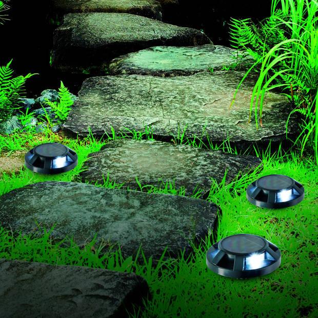 Grundig grondspot - solar - Ø 12 cm - 3x LED - zwart
