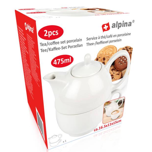 Alpina Theepot met Kopje - Tea-for-One - 475 ml – 2-in-1 – Porselein