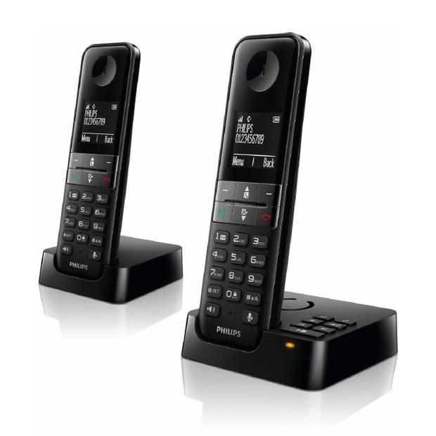 Philips D4752B DECT draadloze telefoon - 2 handsets - plug-and-play