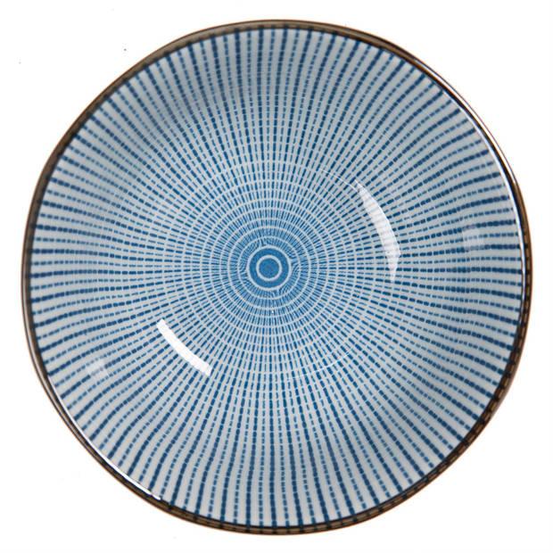 Clayre & Eef Kom Ø 13*6 cm Blauw Keramiek Rond Strepen