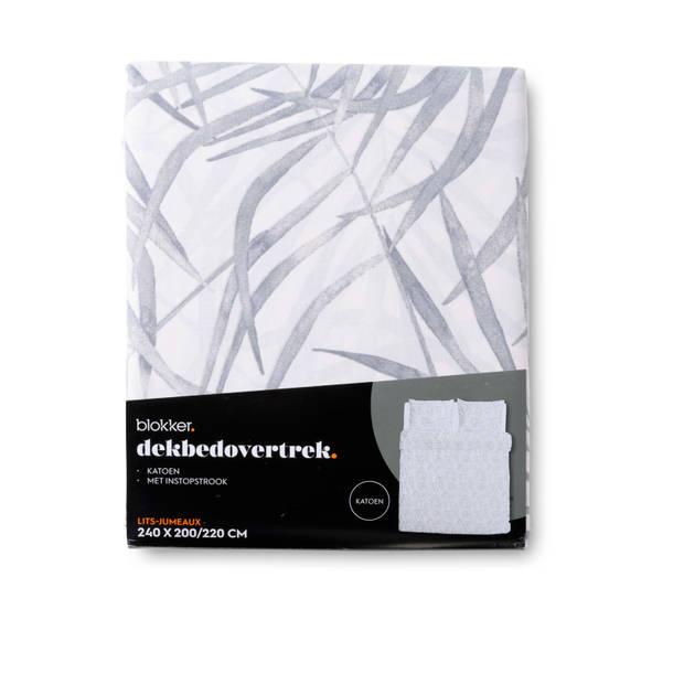 Blokker dekbedovertrek tivoli - 240x220 cm - wit/grijs