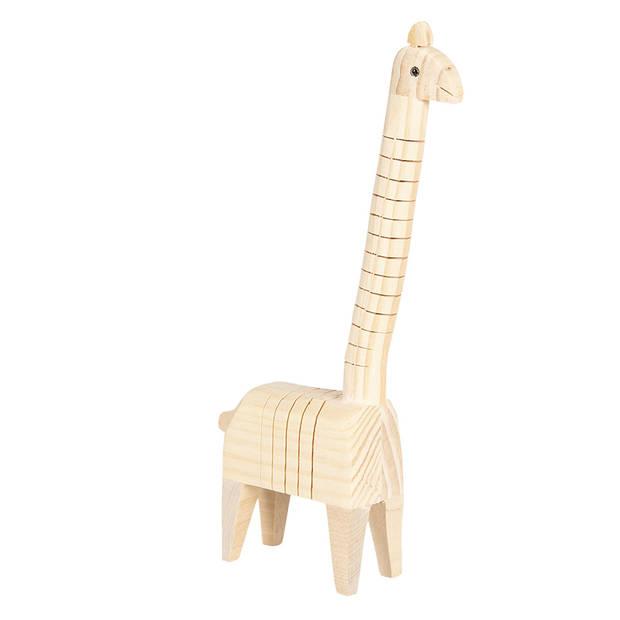 Clayre & Eef Decoratie Giraf 6H1836 4*6*24 cm - Bruin Hout Decoratief