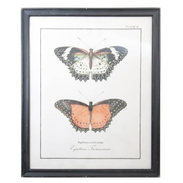 Clayre & Eef Schilderij 65*2*80 cm Zwart Hout Rechthoek Vlinders 50237