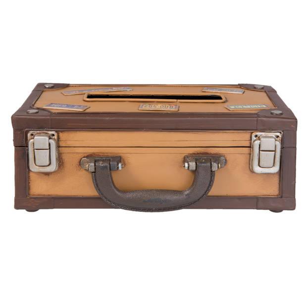 Clayre & Eef Tissuebox 24*15*9 cm Meerkleurig Ijzer Rechthoekig Koffer 6Y2545