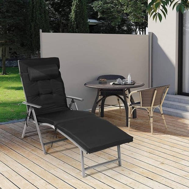 Ligbed opvouwbaar met 6cm matras - ligstoel incl. hoofdsteun en aluminium - 183x60x39cm - Zwart