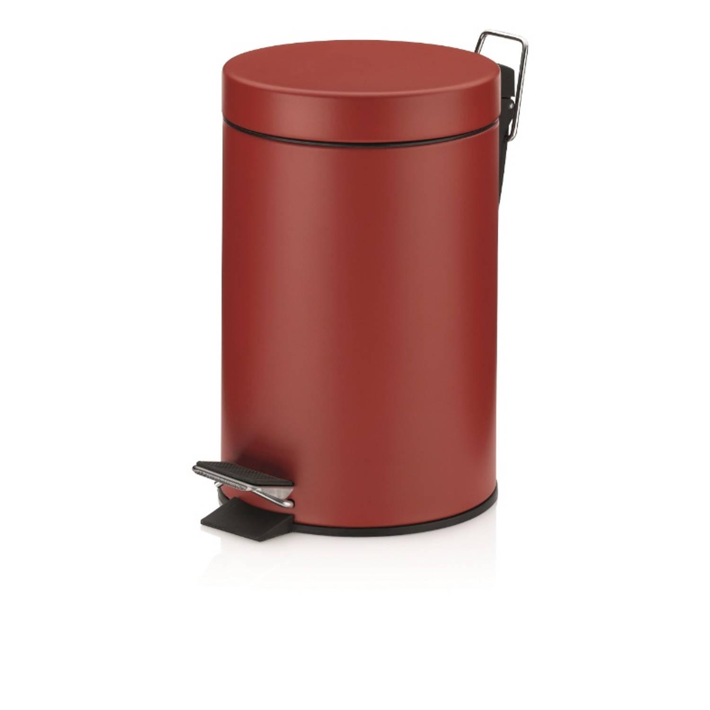 Monaco Pedaal Afvalemmer - 3 Liter - Donker Rood - Kela