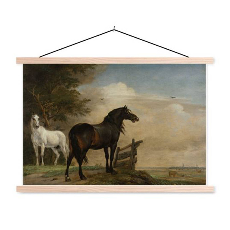 Schoolplaat Twee Paarden