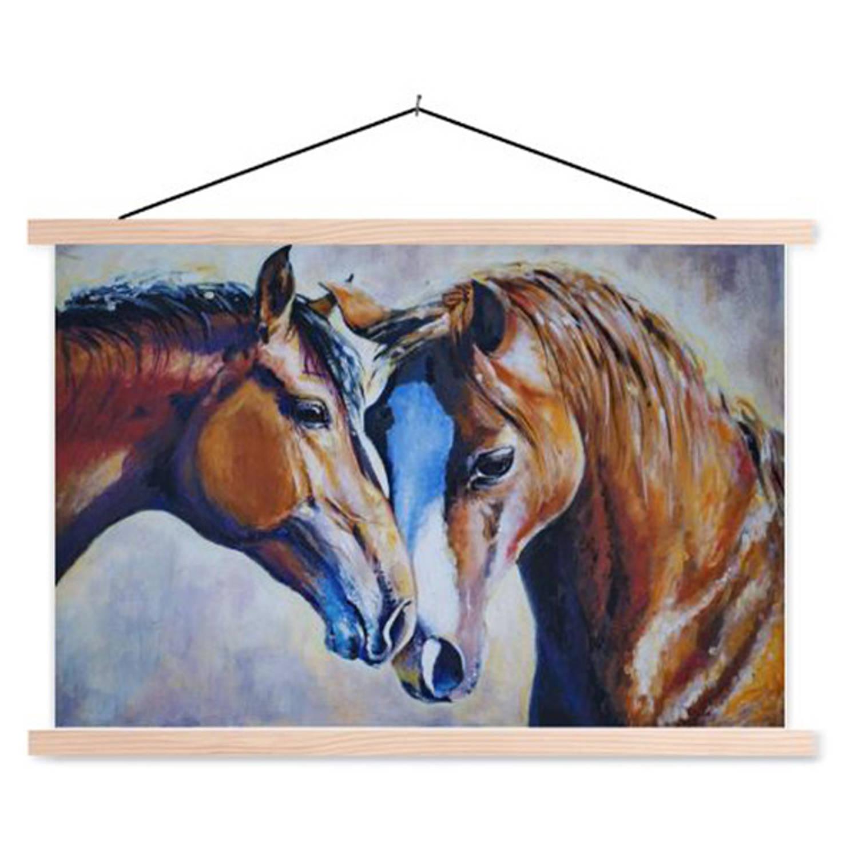 Schoolplaat Twee Paarden Portret