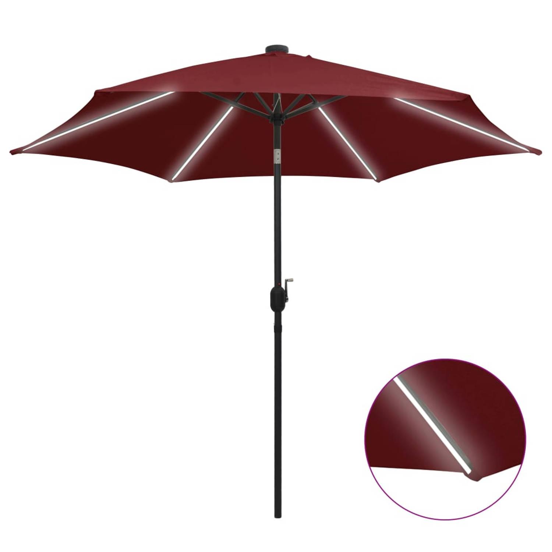 Vidaxl Parasol Met Led-verlichting Aluminium Paal 300 Cm Bordeauxrood
