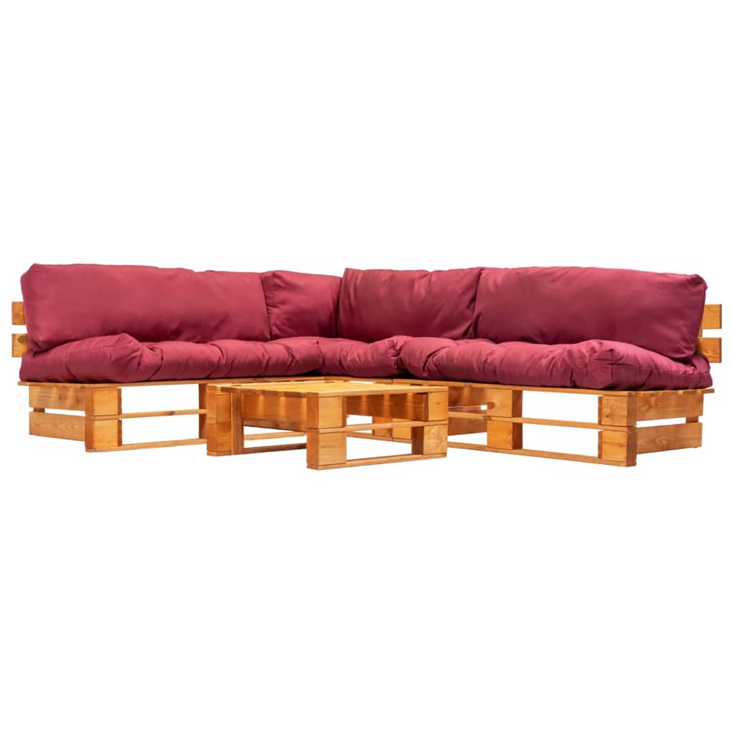 vidaXL 4-delige Loungeset pallets met rode kussens FSC hout