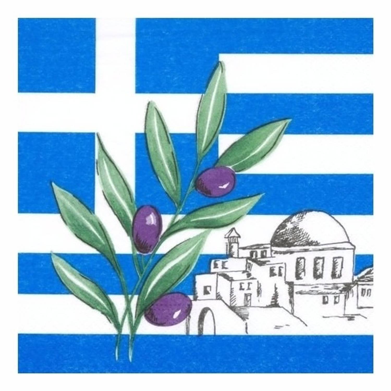 100x Griekenland Landen Thema Servetten 33 X 33 Cm - Papieren Wegwerp Servetjes - Griekse Versieringen/decoraties