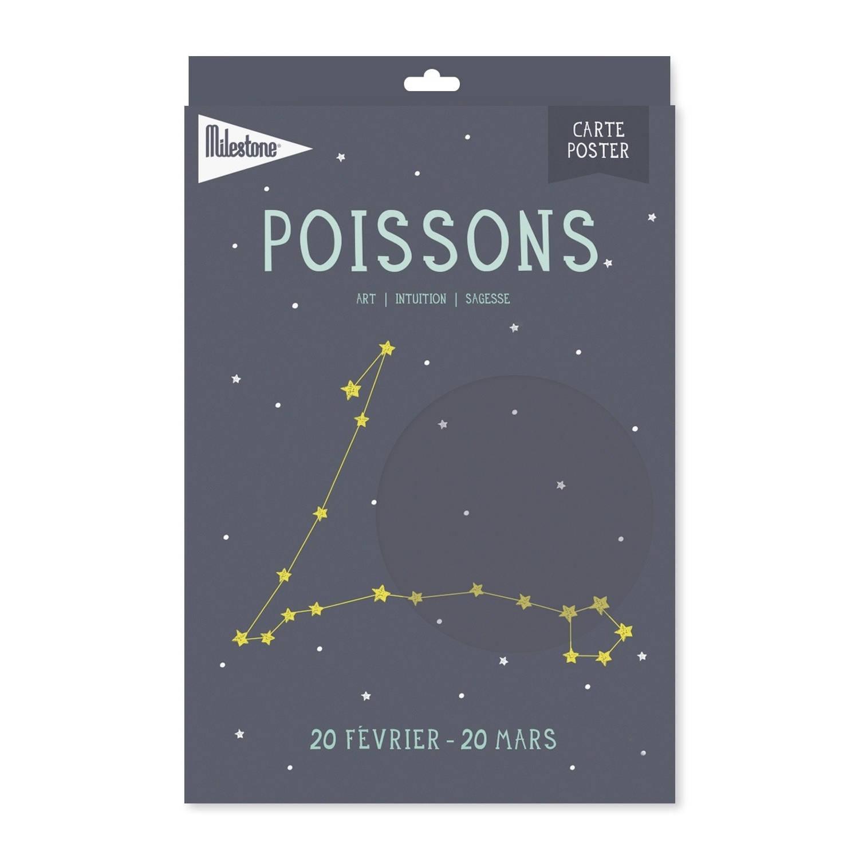 Milestone Poster Sterrenbeeld Vissen (Fr) A4-formaat Papier Grijs/beige