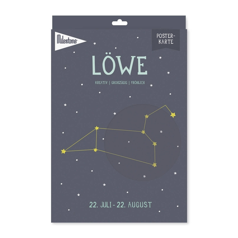 Milestone Poster Sterrenbeeld Leeuw (De) A4-formaat Papier Donkerblauw/beige