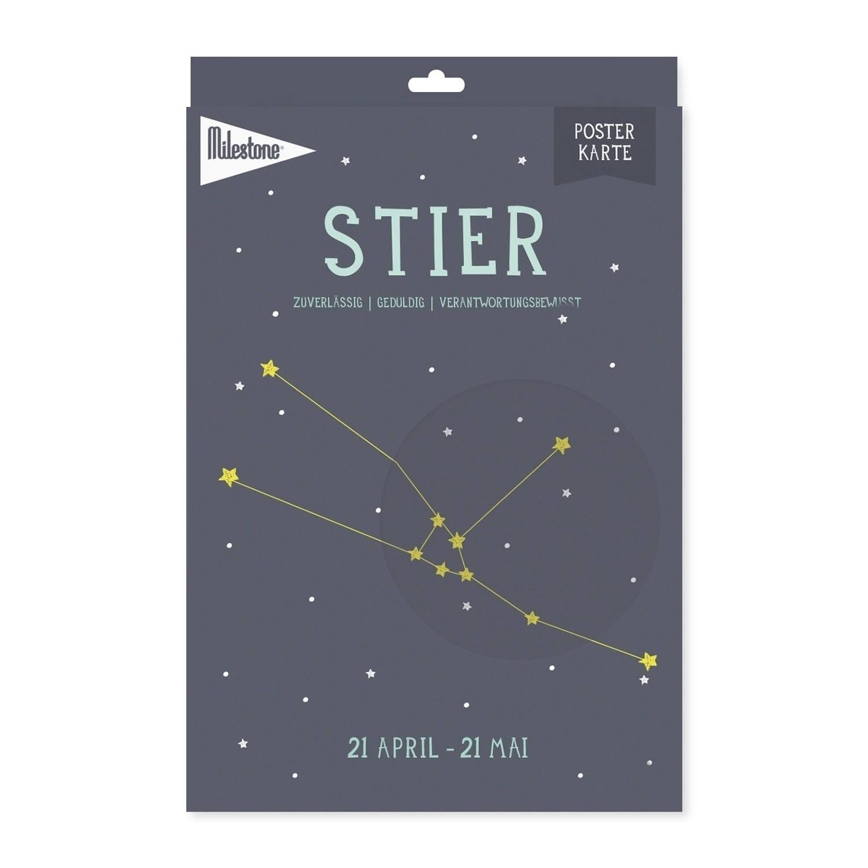 Milestone Poster Sterrenbeeld Stier (De) A4-formaat Papier Donkerblauw/beige