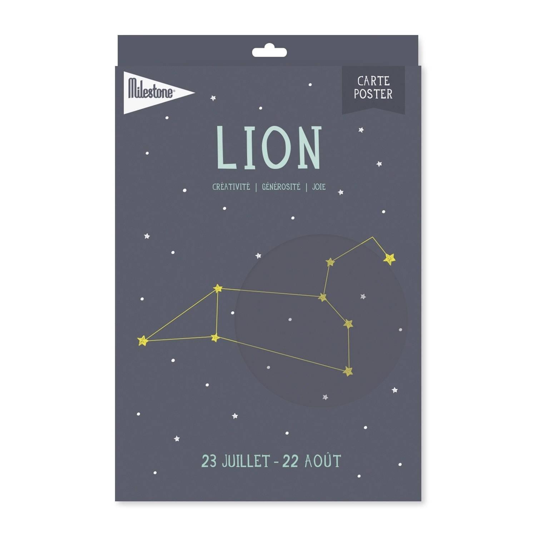 Milestone Poster Sterrenbeeld Leeuw (Fr) A4-formaat Papier Grijs