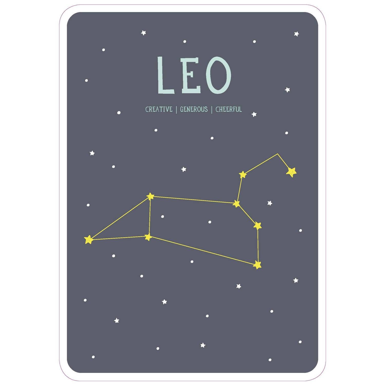 Milestone Poster Sterrenbeeld Leeuw (Eng) A4-formaat Papier Grijs/beige