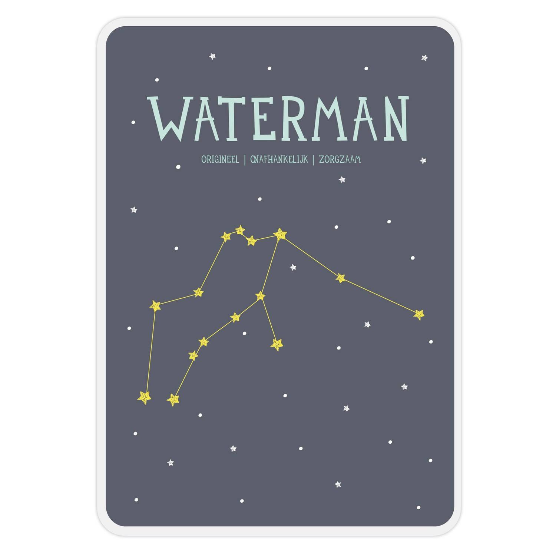 Milestone Poster Sterrenbeeld Waterman (Nl) A4-formaat Papier Donkerblauw/wit