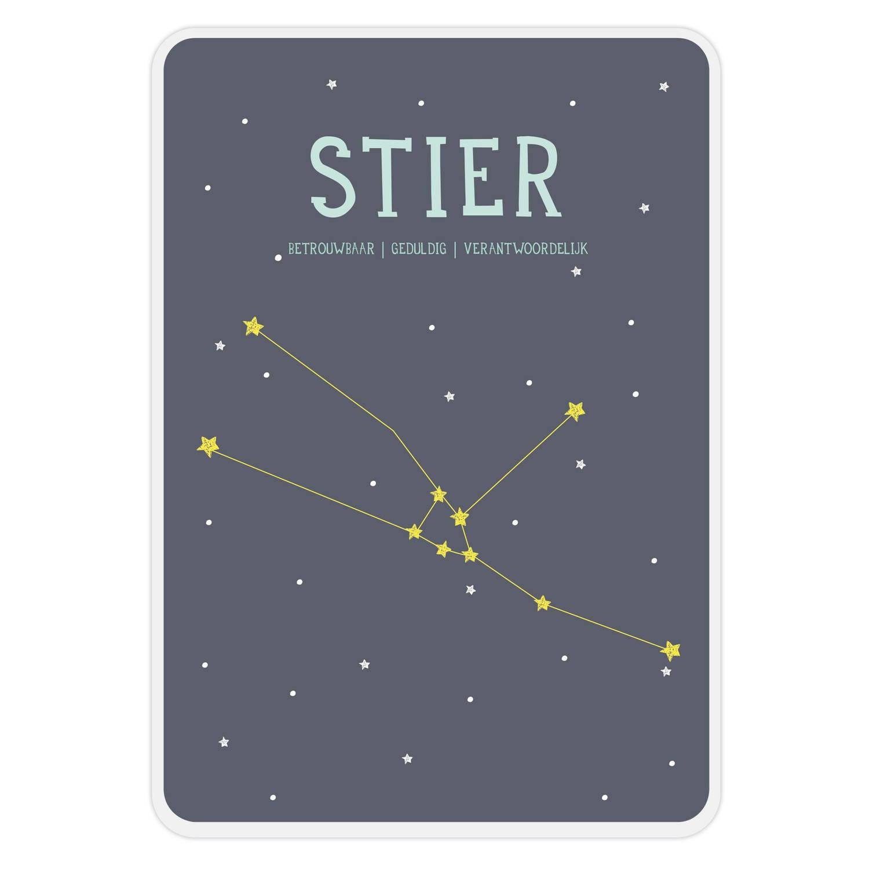 Milestone Poster Sterrenbeeld Stier (Nl) A4-formaat Papier Donkerblauw/wit
