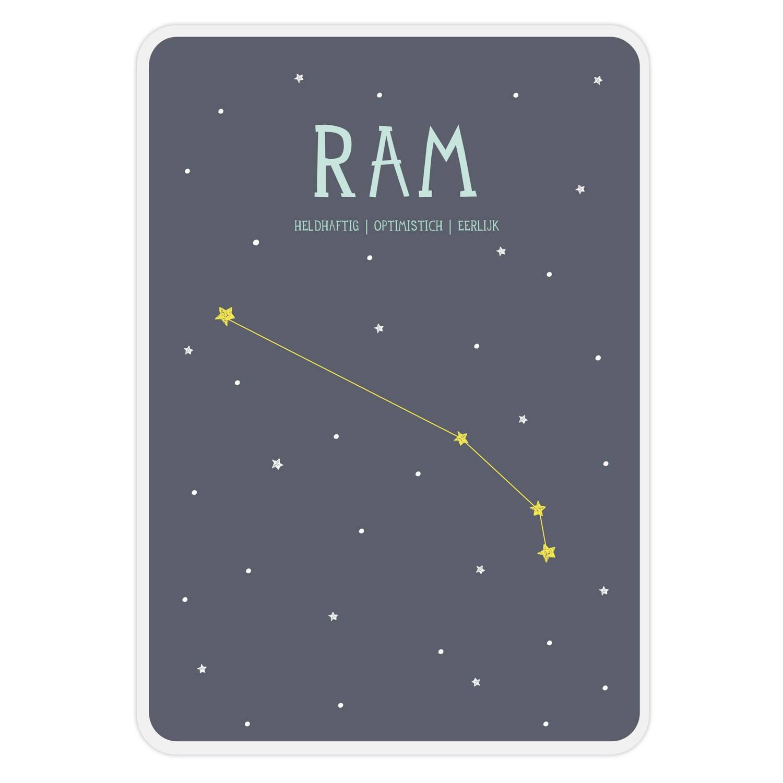Milestone Poster Sterrenbeeld Ram (Nl) A4-formaat Papier Donkerblauw/wit